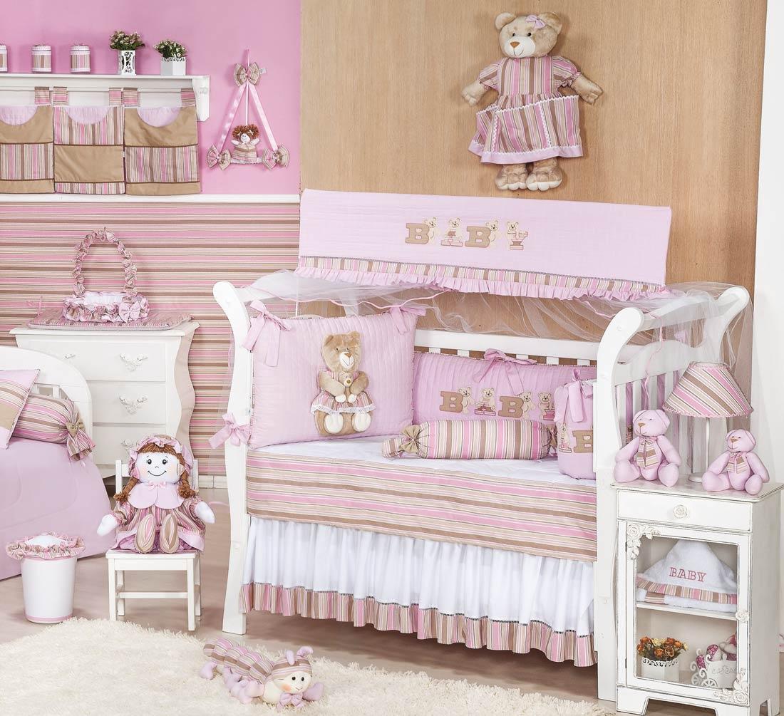 Coleção Completa Padrão Americano Coleção Baby Kids - 24 Peças - 100% Algodão 180 Fios - Rosa