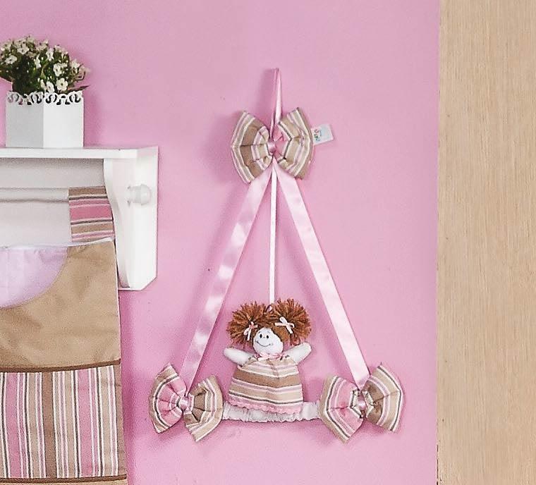Enfeite de Porta 100% Algodão - Coleção Baby Kids - Rosa