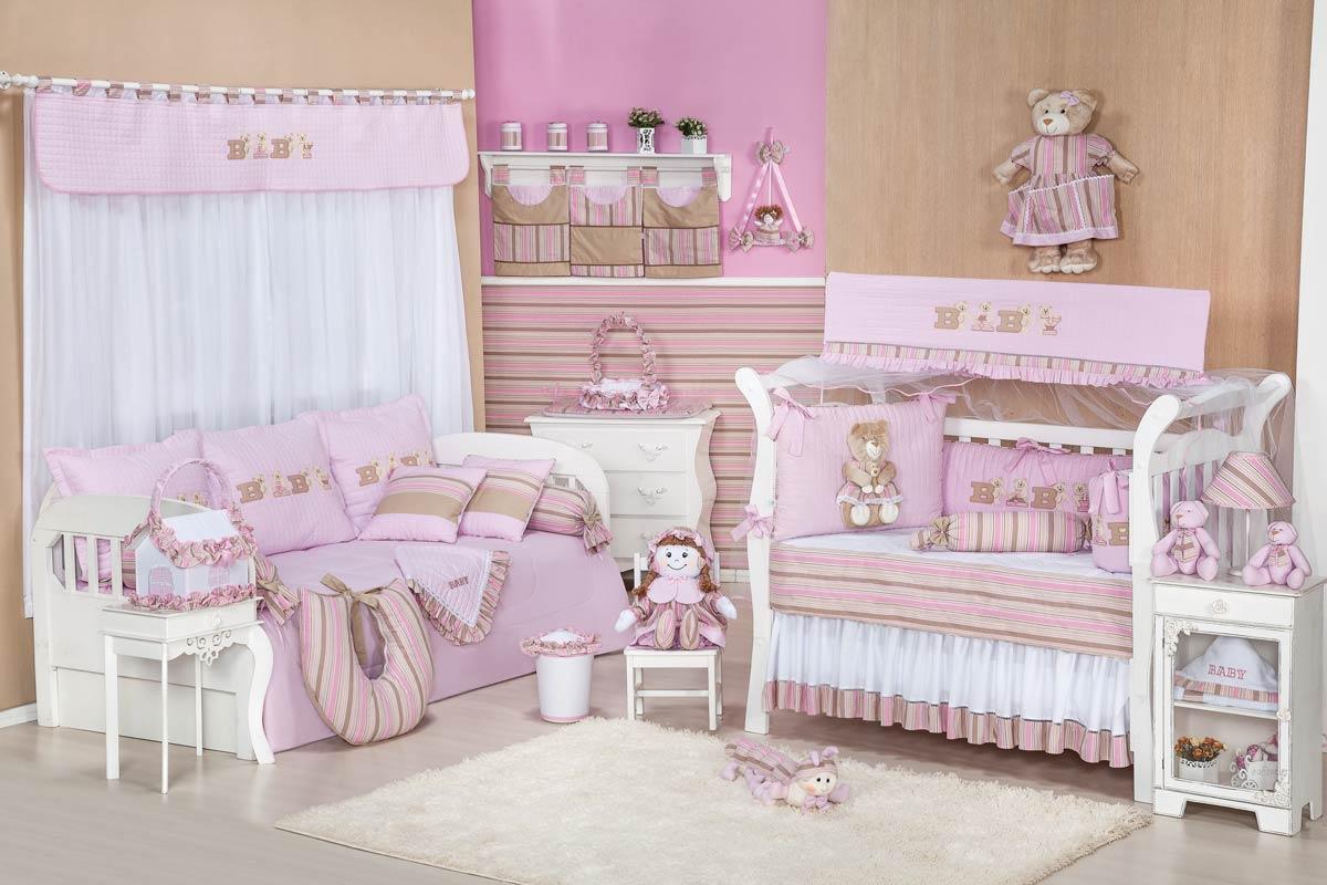 Porta Fraldas de Varão 03 Peças - Coleção Baby Kids - Rosa