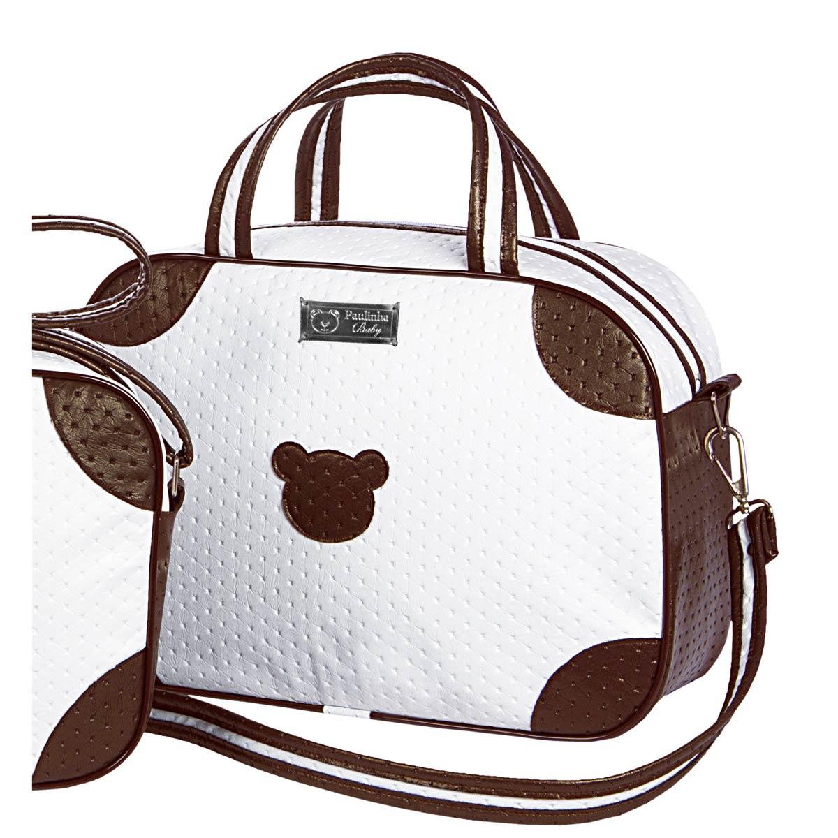 Bolsa Maternidade Coleção Colonial Urso 36cm x 25cm x 13cm - Branco / Chocolate