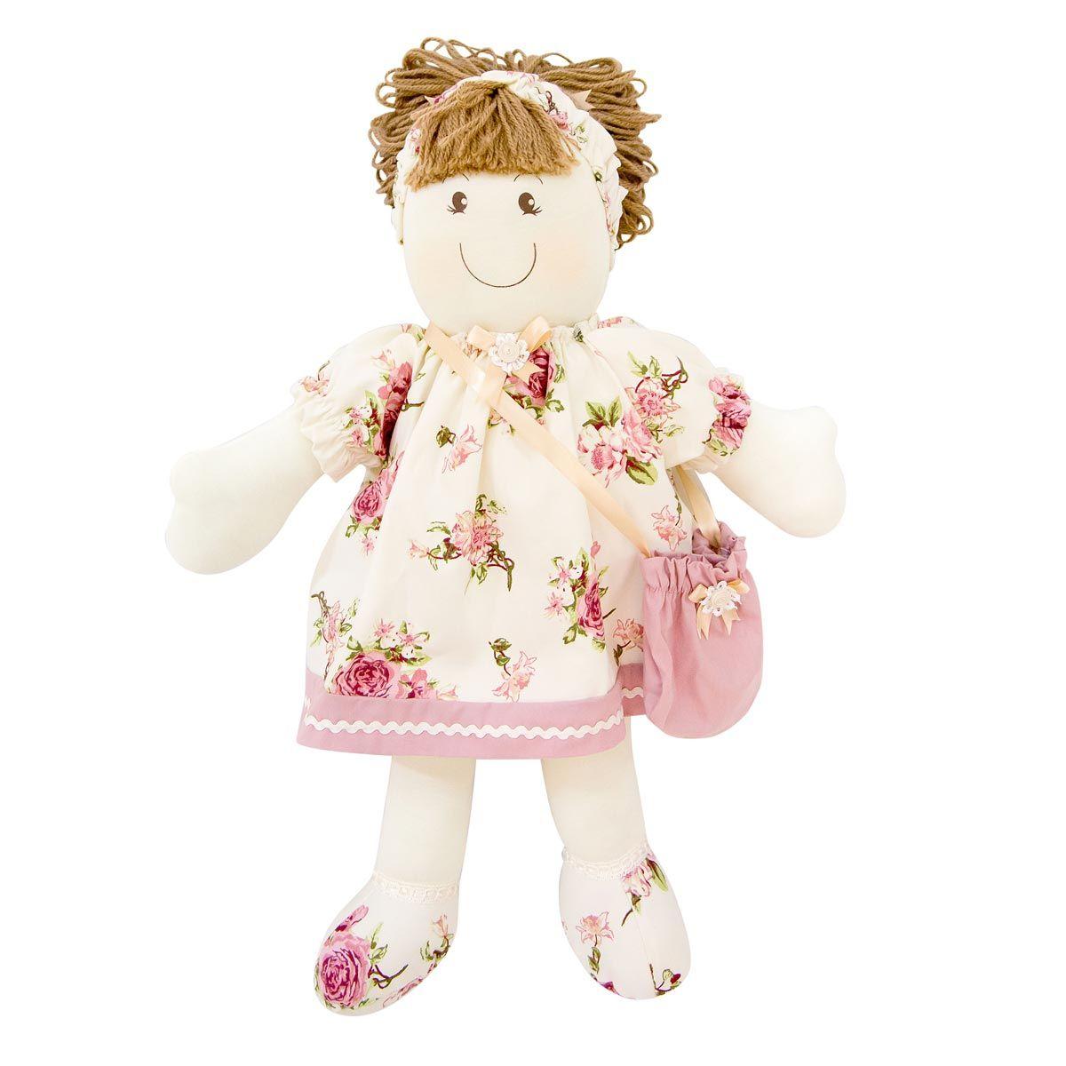 Porta Chupeta Boneca Enfeitado - Cole��o Fleur Ros� - 54cm - 01 Pe�a - Rosa