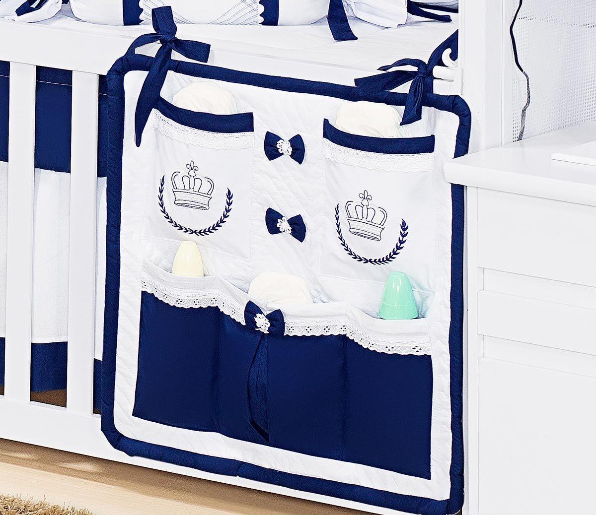 Porta Treco para Berço de Bebê - Coleção Monarchy Marinho