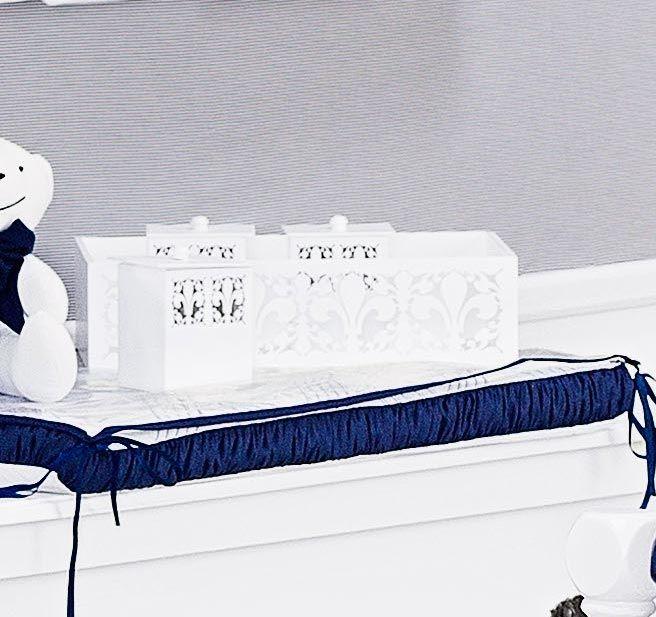Kit de Acessórios 05 Peças em MDF - Coleção Monarchy Marinho - Caixa, Cesta e Conjunto de Potes - Branco