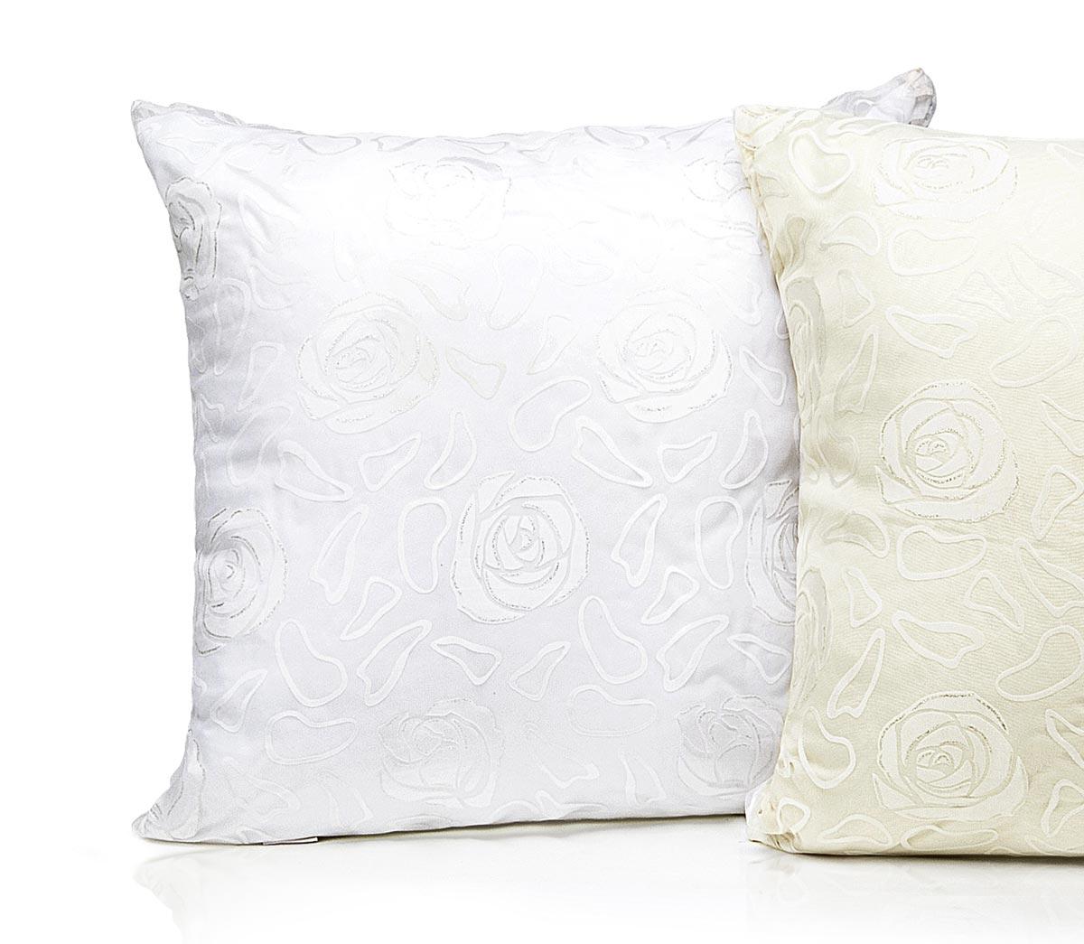 Almofada Bella Fiori com Enchimento - Tecido Trabalhado - Branco