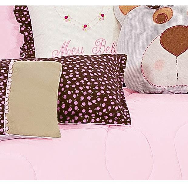 Almofada Decorativa Lisa - Cole��o Nina Rosa - 100% Algod�o - 45cm x 30cm