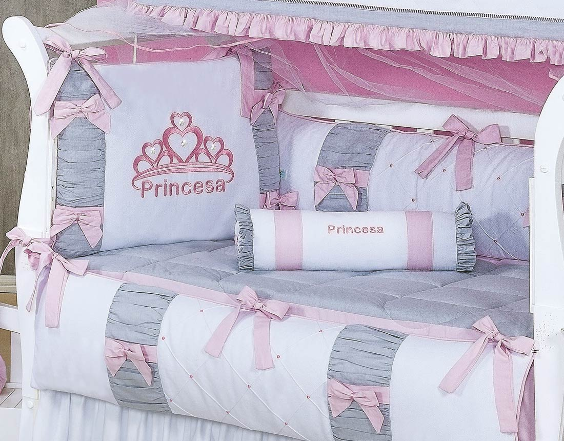 Kit Berço 09 Peças Americano c/ Mosquiteiro - Coleção Princesa Kids - 100% Algodão 180 Fios - Com Strass - Rosa