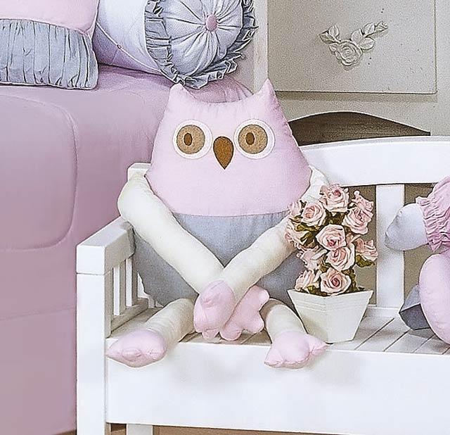 Enfeite Decorativo ´Corujinha´ - Coleção Princesa Kids - 64cm - Rosa