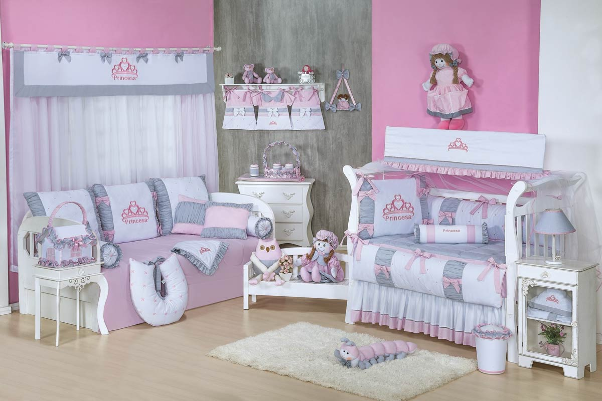 Porta Fraldas de Varão 03 Peças - Coleção Princesa Kids - Rosa