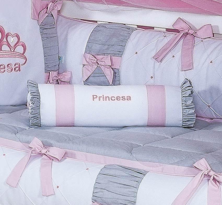 Rolinho Avulso Bordado Coleção Princesa Kids - 100% Algodão 180 Fios - Rosa