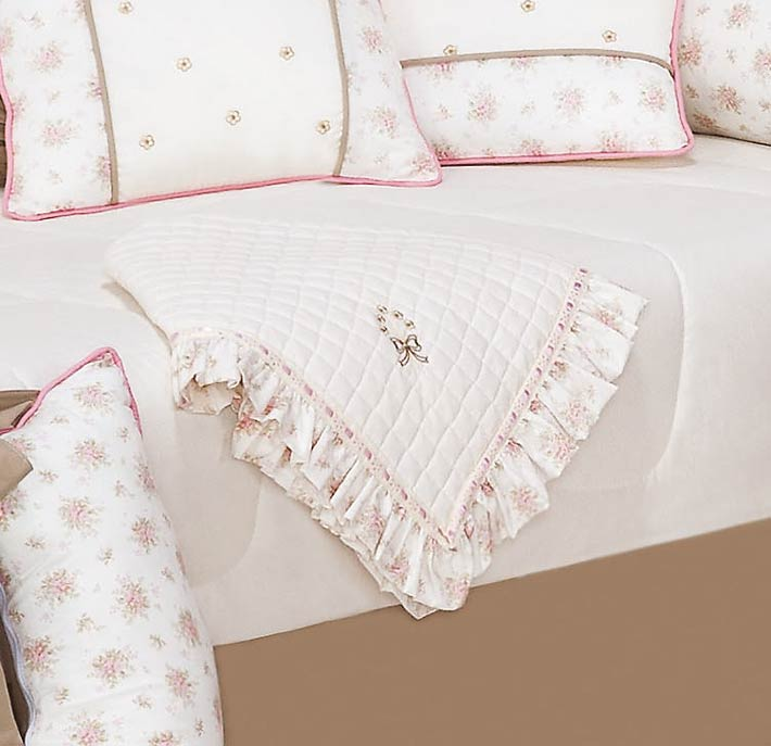 Manta de Piquet Bordada - Coleção Brilhante - Rosa