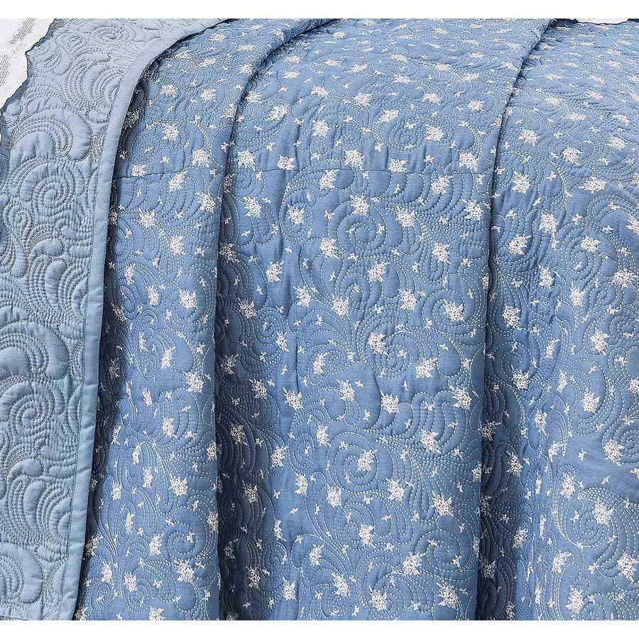 Cobre Leito Casal Queen Algadian 03 Peças Bordado 100% Algodão 400 Fios - Fio Egípcio - Azul