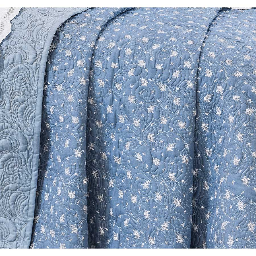Cobre Leito Casal Super King Algadian 03 Peças Bordado 100% Algodão 400 Fios - Fio Egípcio - Azul