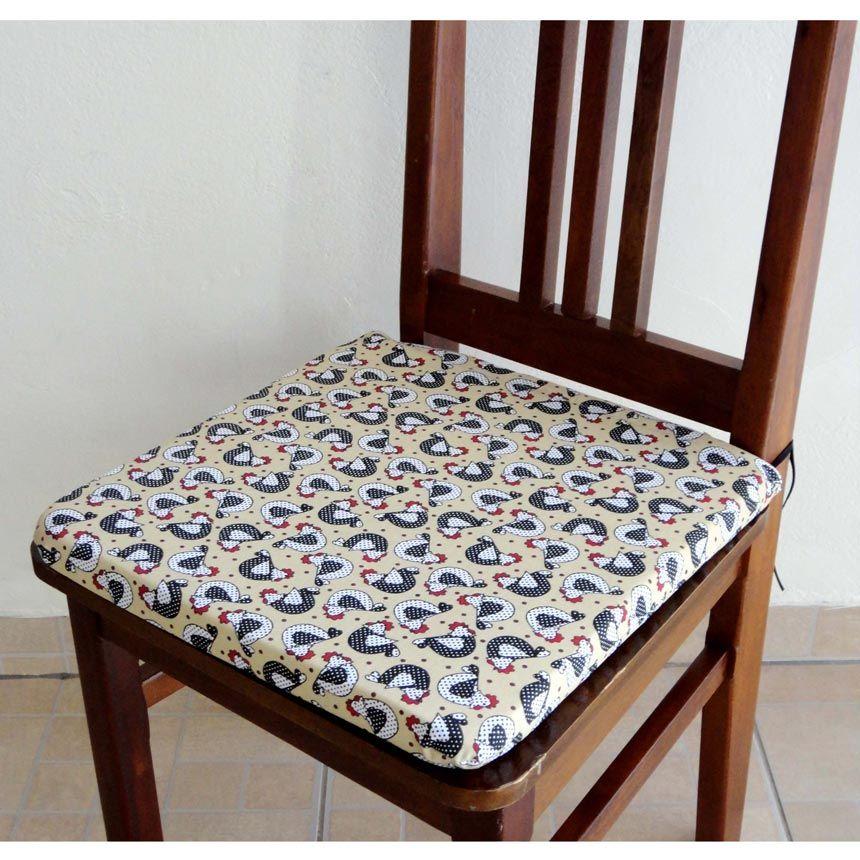Assento para Cadeira Estampado - Galinha Bege