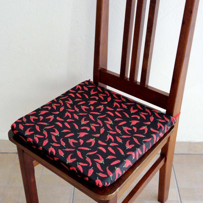 Assento para Cadeira Estampado - Pimenta Preta