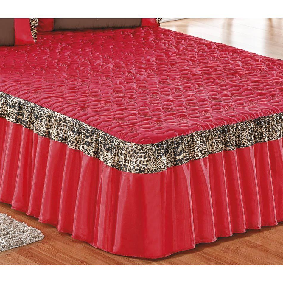 Colcha Casal Padrão Azaleia 03 Peças Tecido Failete - Vermelho