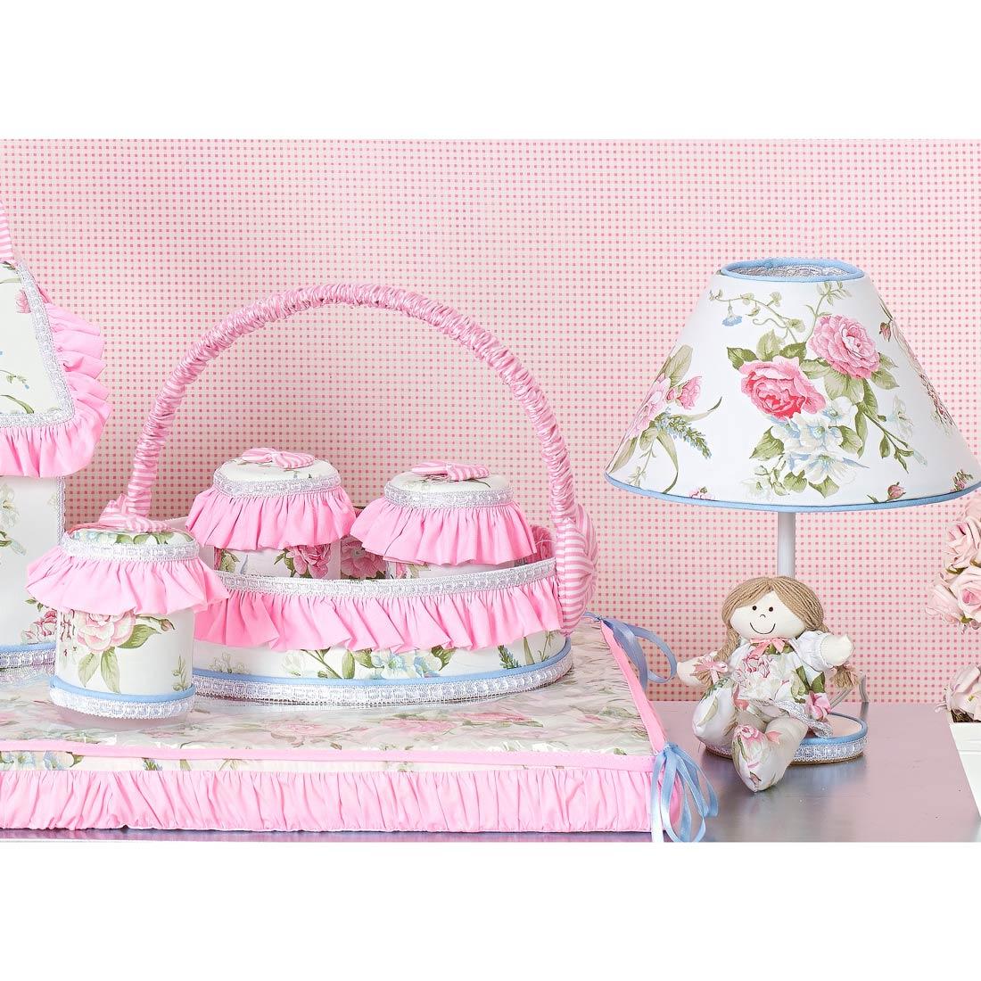 Kit Acessórios com Abajur, Cesta e Potes - Coleção Garden Flowers Rosa