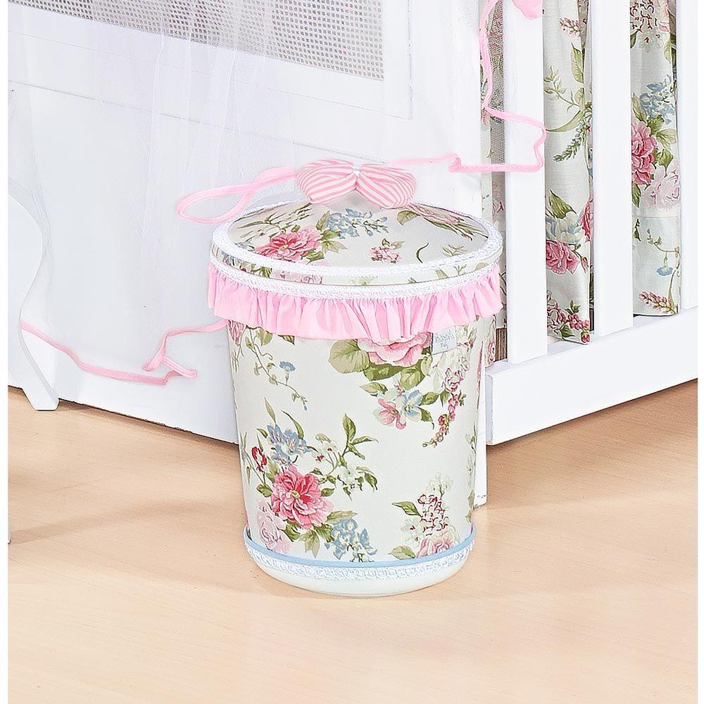 Lixeira Enfeitada p/ Quarto de Bebê - Coleção Garden Flowers Rosa