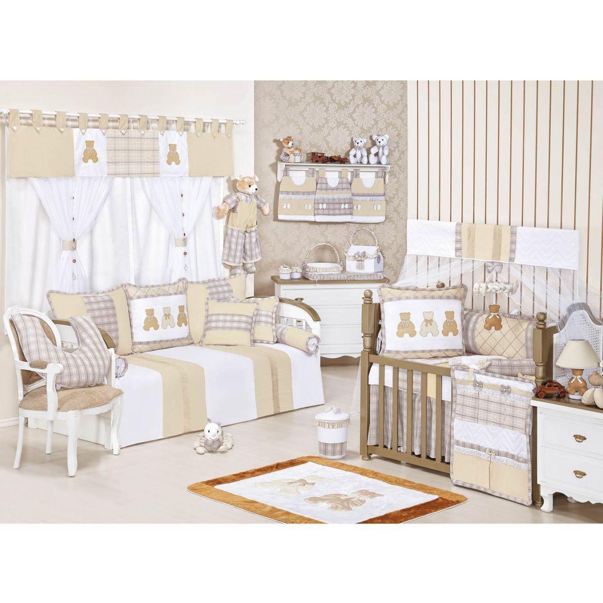 Abajur Enfeitado para Quarto Bebê Coleção Bears - Caqui