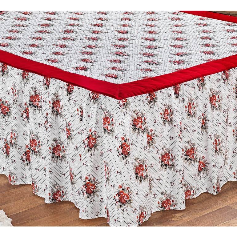 Colcha Casal Padrão Belize 03 Peças Estampado com Babado Tecido Misto - Vermelho