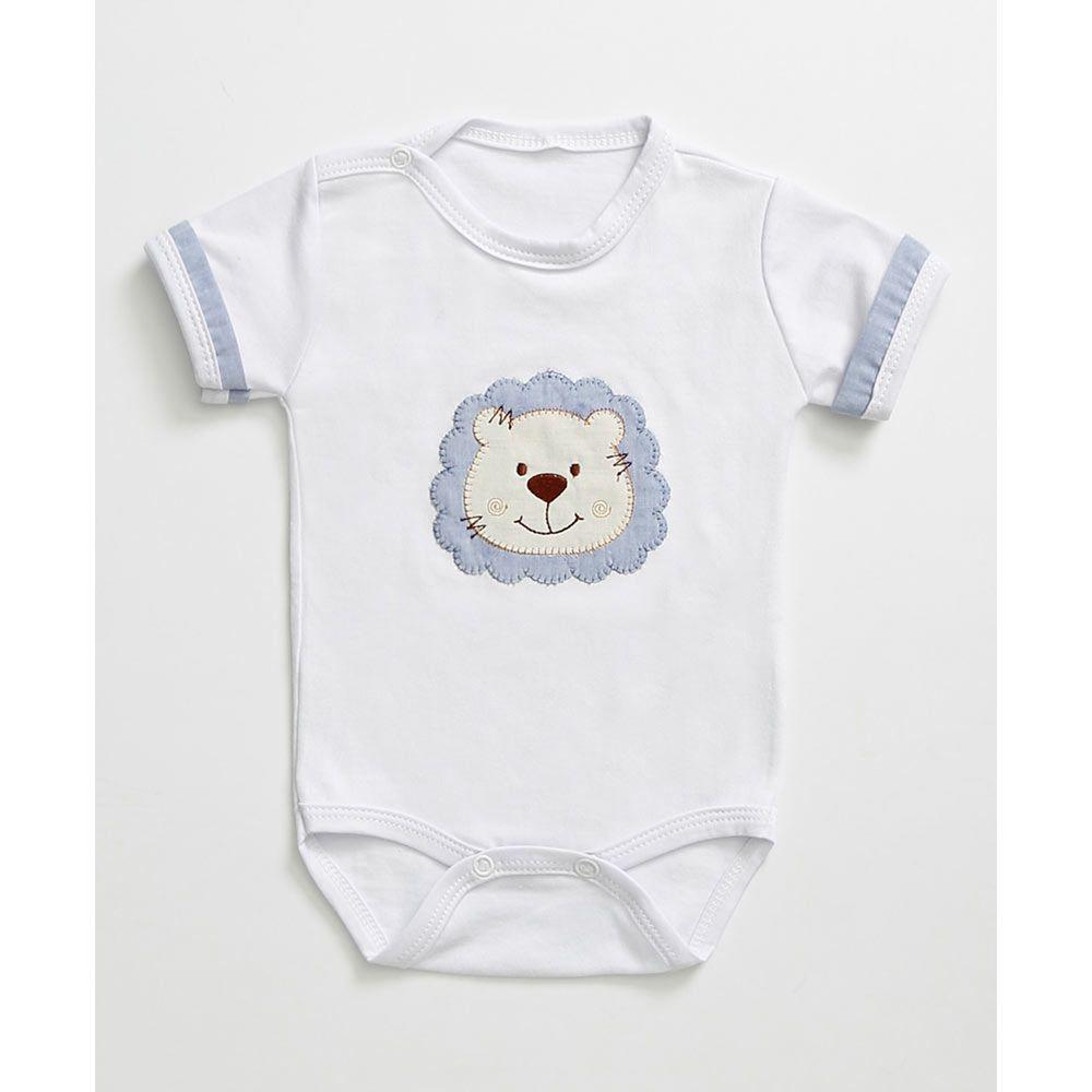 Body com Manga Liso Urso Branco Tecido Malha - M