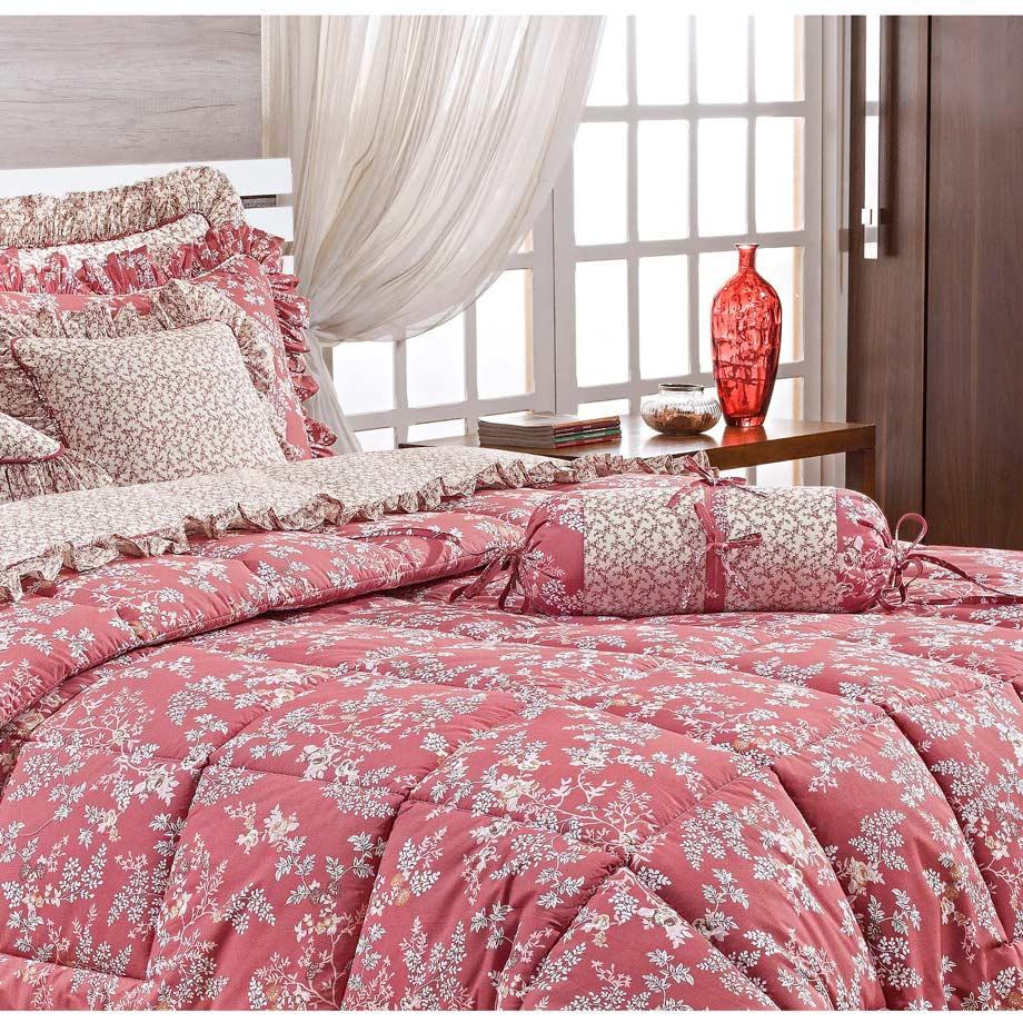 Colcha Casal Super King Bouquet 20 Peças 100% Algodão 200 Fios c/ Lençol e Toalha - Vermelho