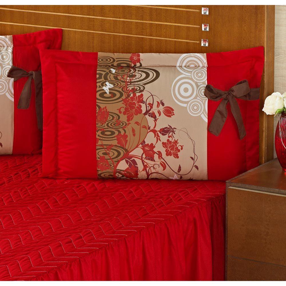 Colcha Casal Padrão Bruna 03 Peças Estampado com Babado - Vermelho