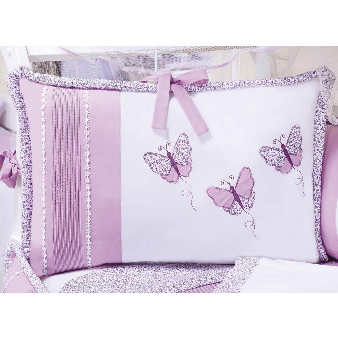 Kit Berço 9 Peças Americano c/ Mosquiteiro - Coleção Butterfly Baby - 100% Algodão