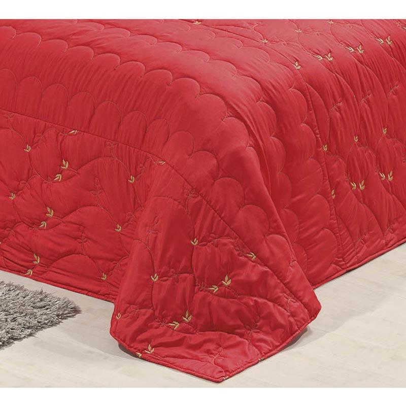 Cobre Leito Casal Padrão Cally 03 Peças Tecido Microfibra Peletizada - Vermelho