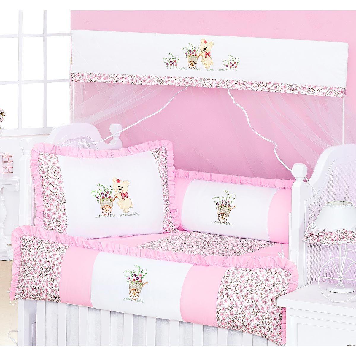 Coleção Completa para Quarto de Bebê Carriola Rosa - 18 Peças