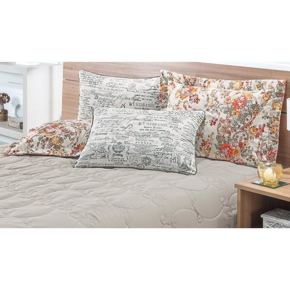 Cobre Leito Casal Queen Casa Blanca 05 Peças com 4 Porta Travesseiros - Areia