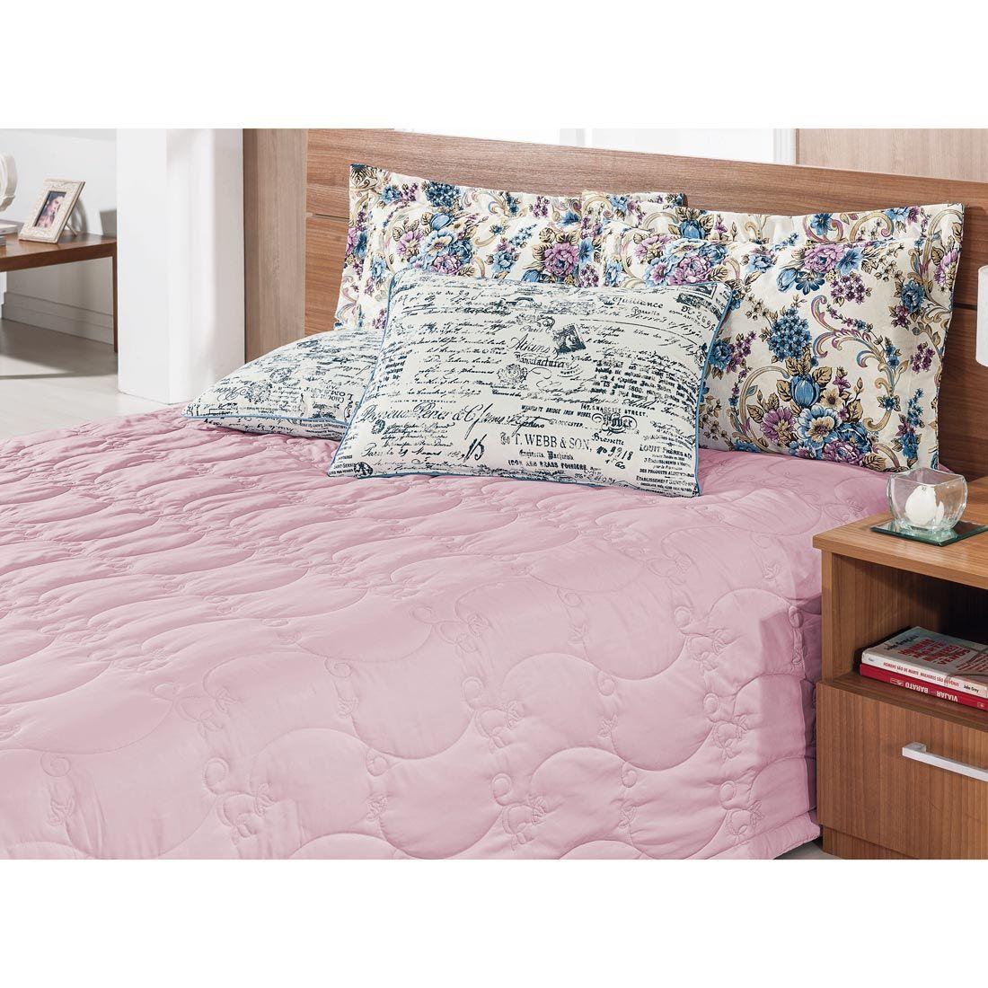 Cobre Leito Casal Queen Casa Blanca 05 Peças com 4 Porta Travesseiros - Rosê