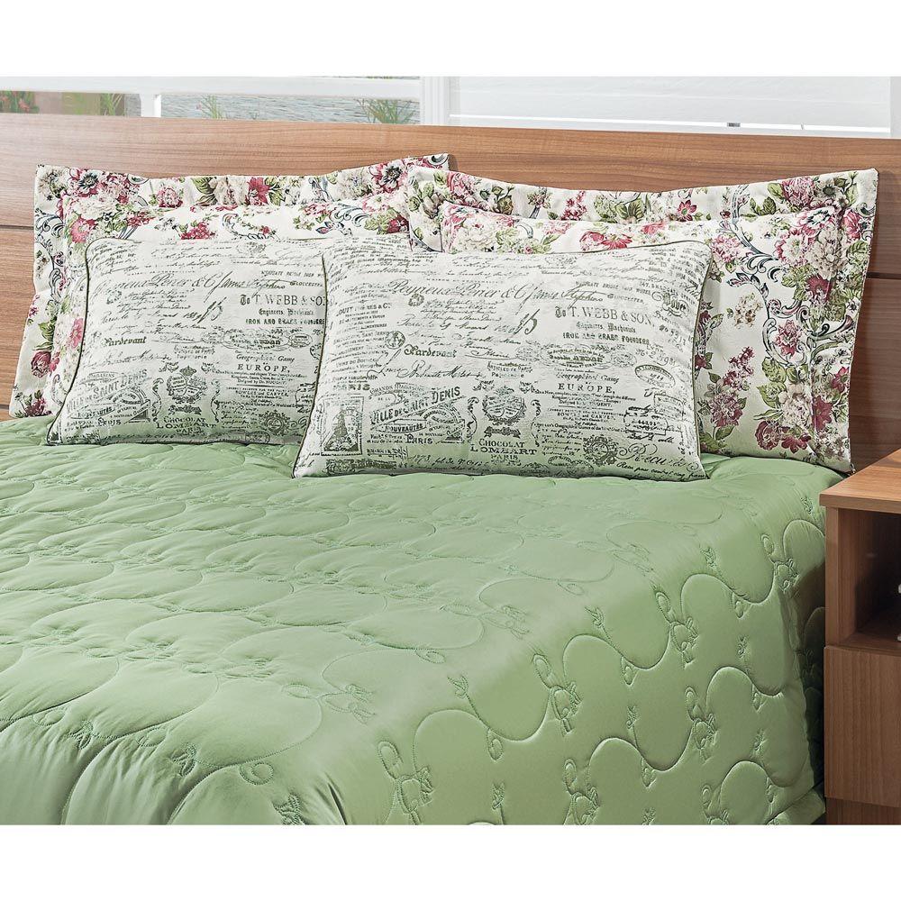 Cobre Leito Casal Queen Casa Blanca 05 Peças com 4 Porta Travesseiros - Verde