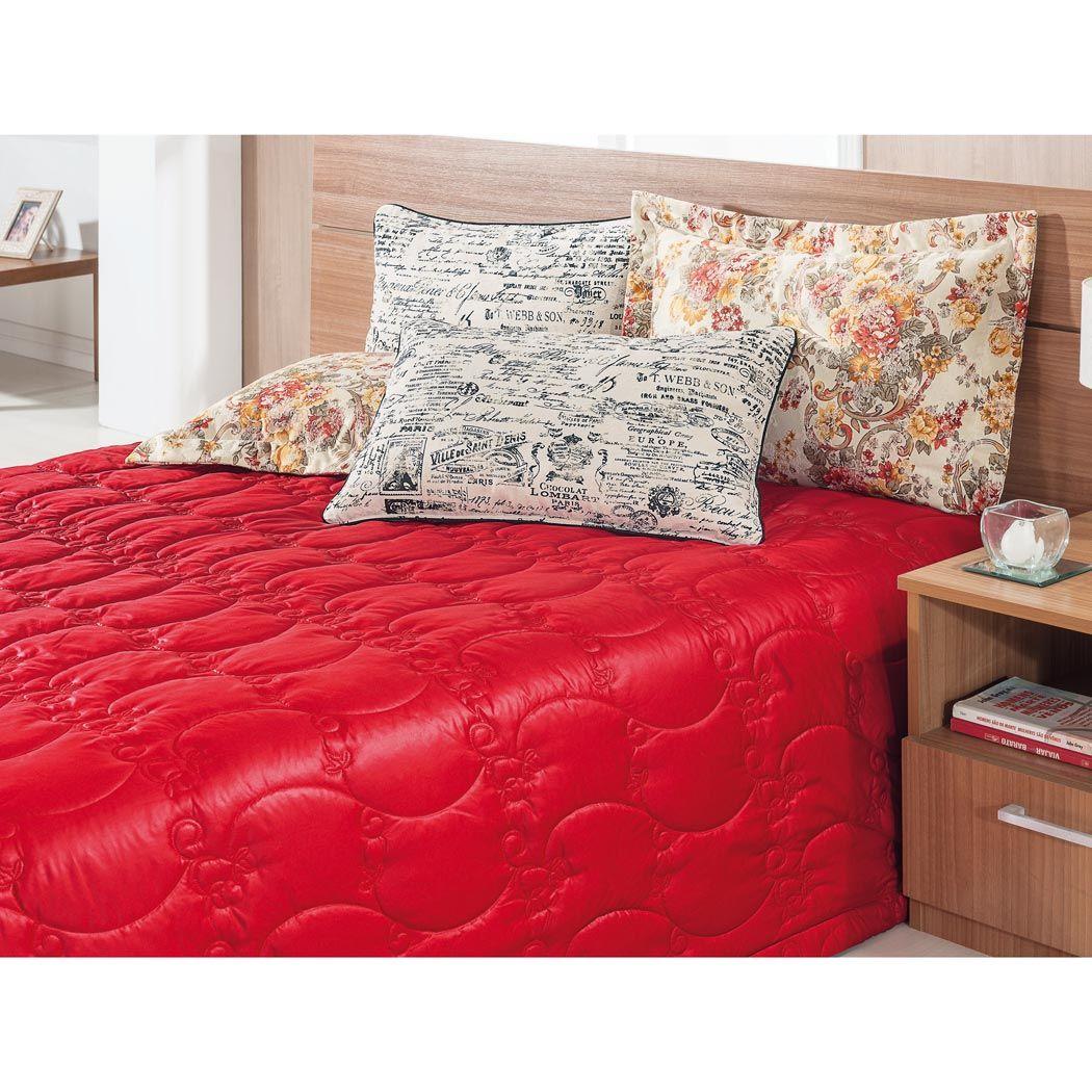 Cobre Leito Casal Queen Casa Blanca 05 Peças com 4 Porta Travesseiros - Vermelho