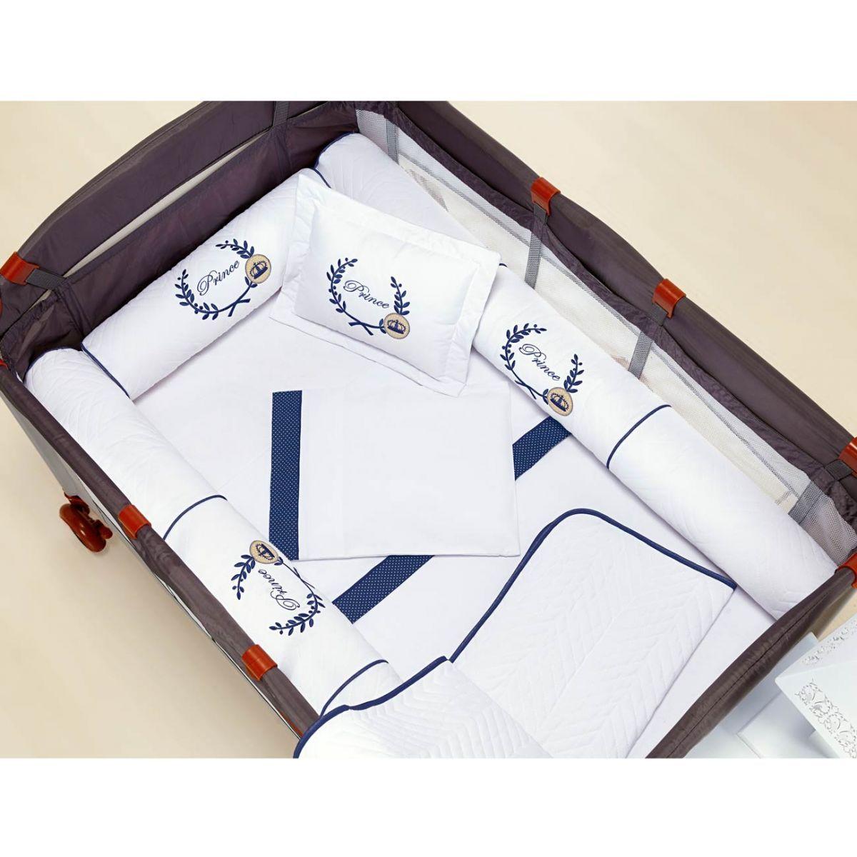 Kit para Berço Desmontável (Cercadinho) 8 Peças com jogo de Lençol 100% Algodão - Branco c/ Marinho
