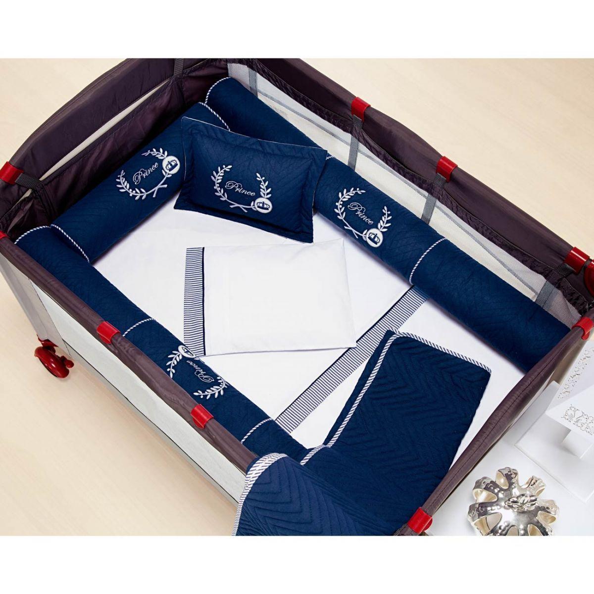 Kit para Berço Desmontável (Cercadinho) 8 Peças com jogo de Lençol 100% Algodão - Marinho