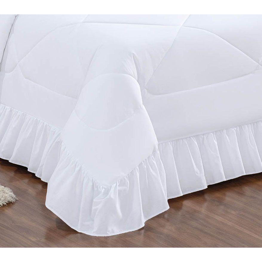 Colcha Casal Queen Charm 05 Peças Tecido Microfibra Peletizada - Branco