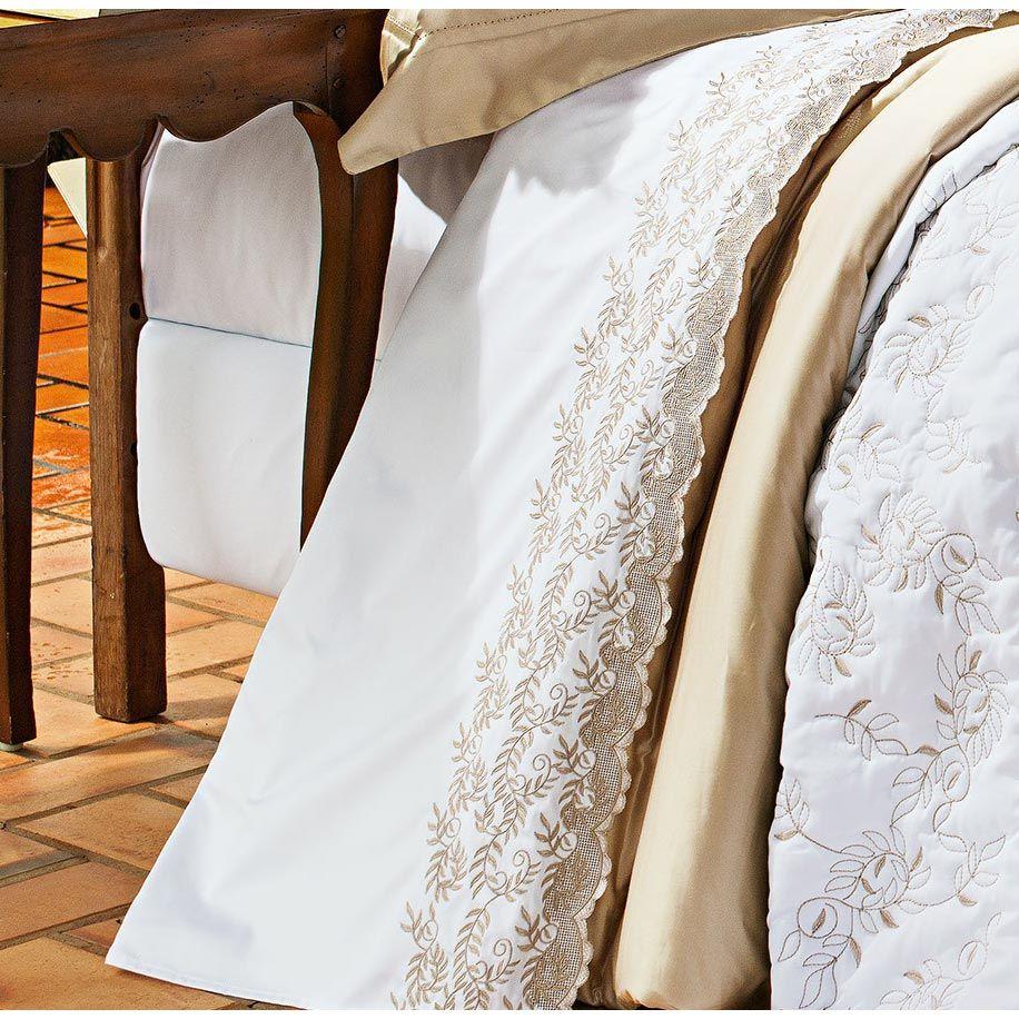 Coordenado Casal Queen Chiesa 7 Peças 100% Algodão 400 Fios c/ Lençol - Branco/Dourado
