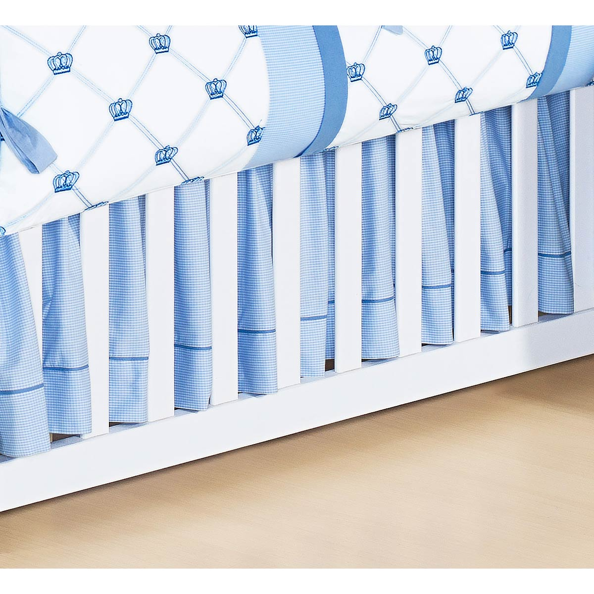 Saia Para Berço 02 Lados Coleção Classic Azul 100% Algodão