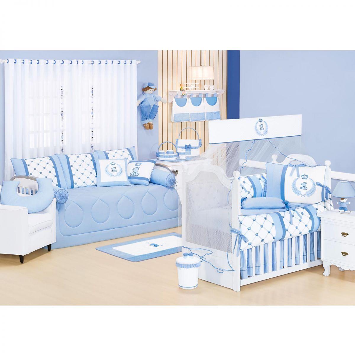 Coleção Completa para Quarto de Bebê Classic Azul - 25 Peças