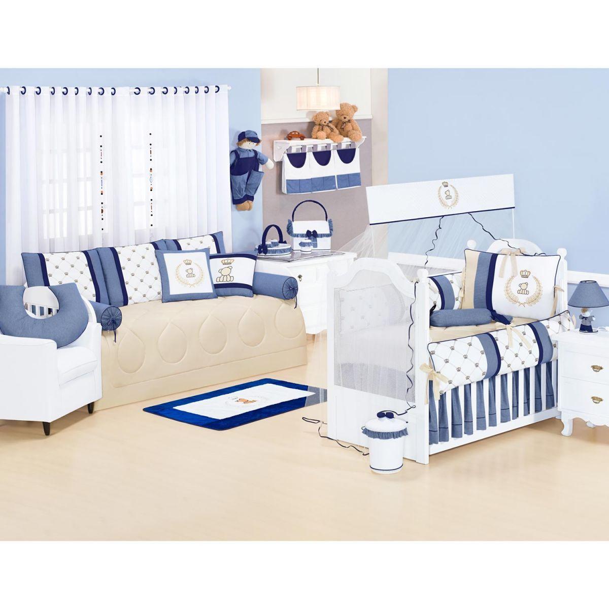 Lixeira Enfeitada p/ Quarto de Bebê - Coleção Classic Marinho