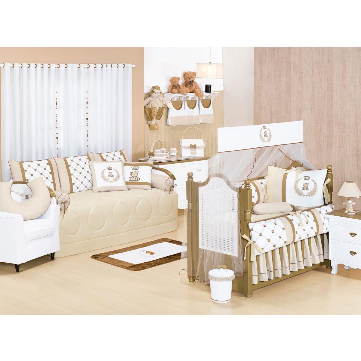 Lixeira Enfeitada p/ Quarto de Bebê - Coleção Classic Palha