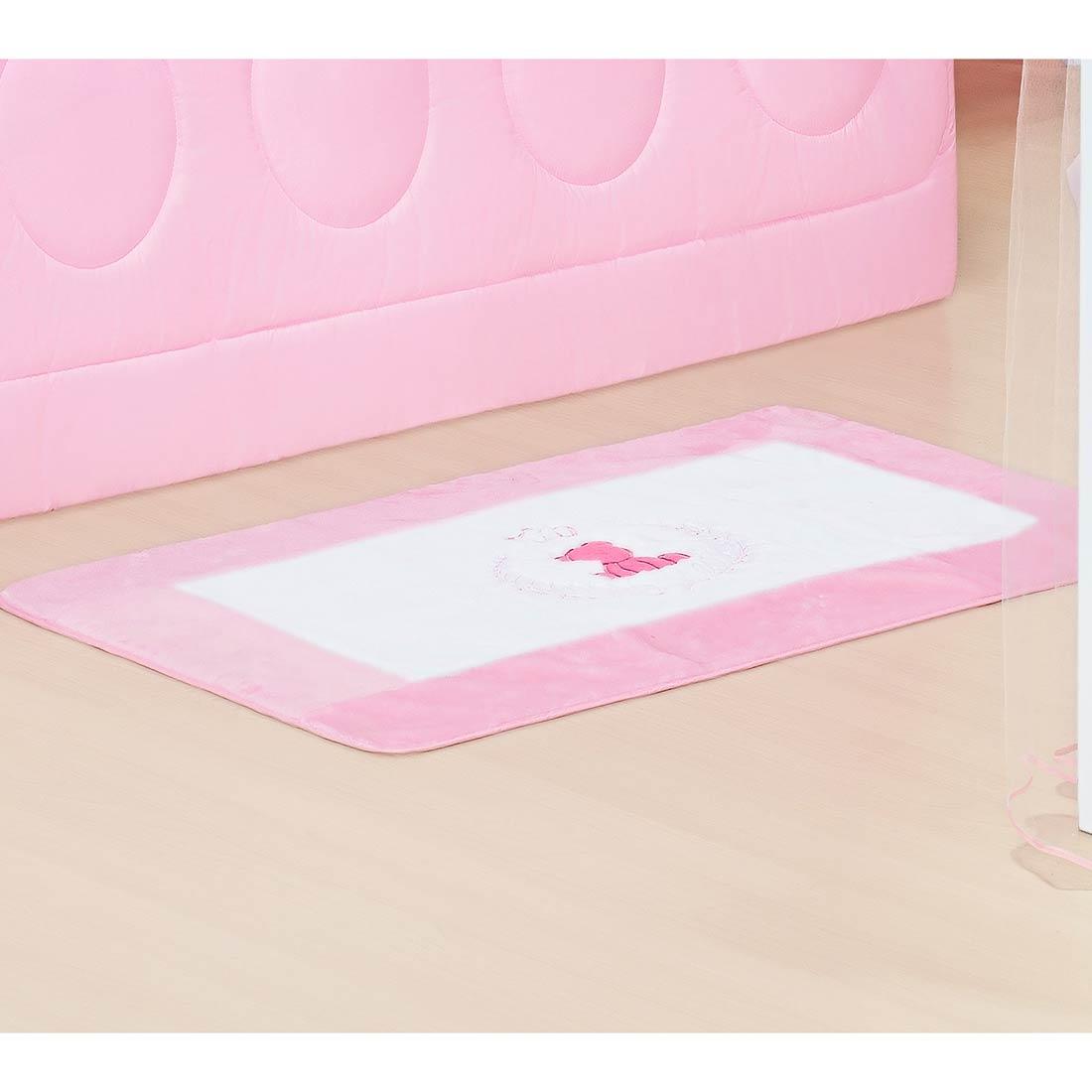 Tapete de Pelúcia Antiderrapante Coleção Classic Rosa