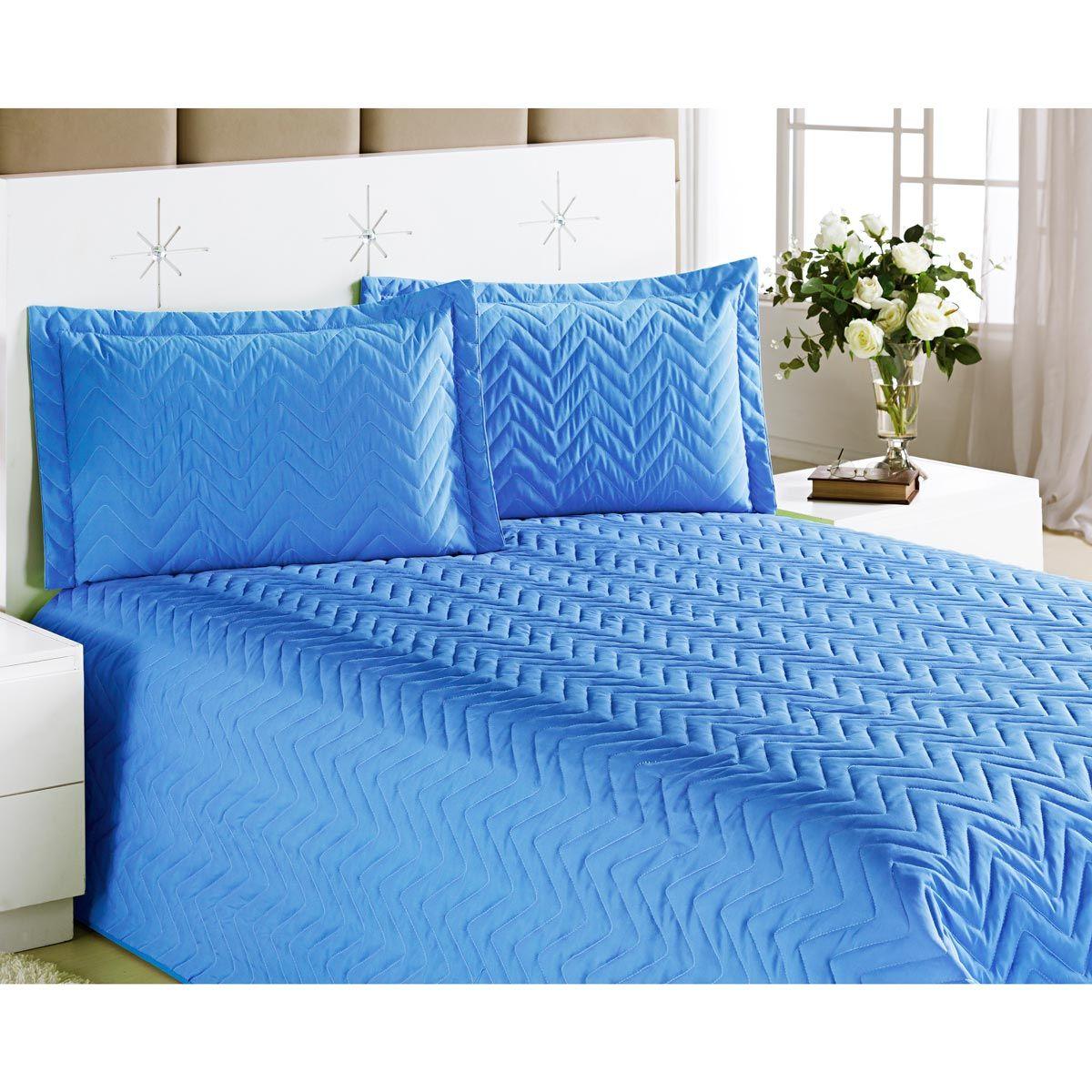 Cobre Leito Casal Padrão Clean Avulso 01 Peça Poliéster - Azul