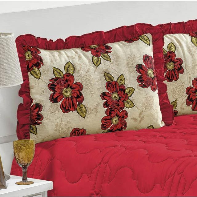 Colcha Casal Queen Florate 04 Peças Tecido Microfibra Peletizada - Vermelho