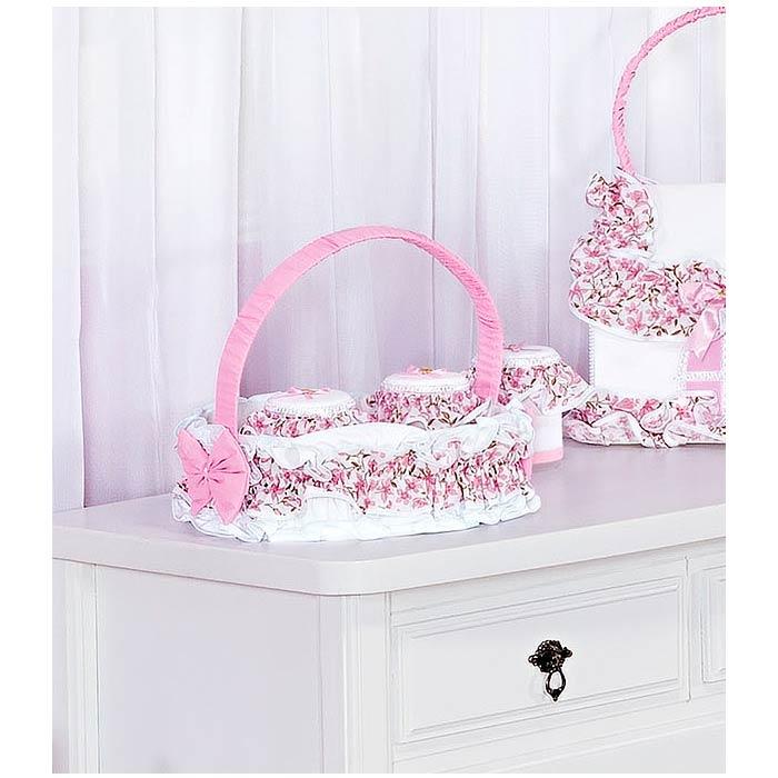 Coleção Completa para Quarto de Bebê Bordado Coleção Coração 18 Peças - Branco/Rosa