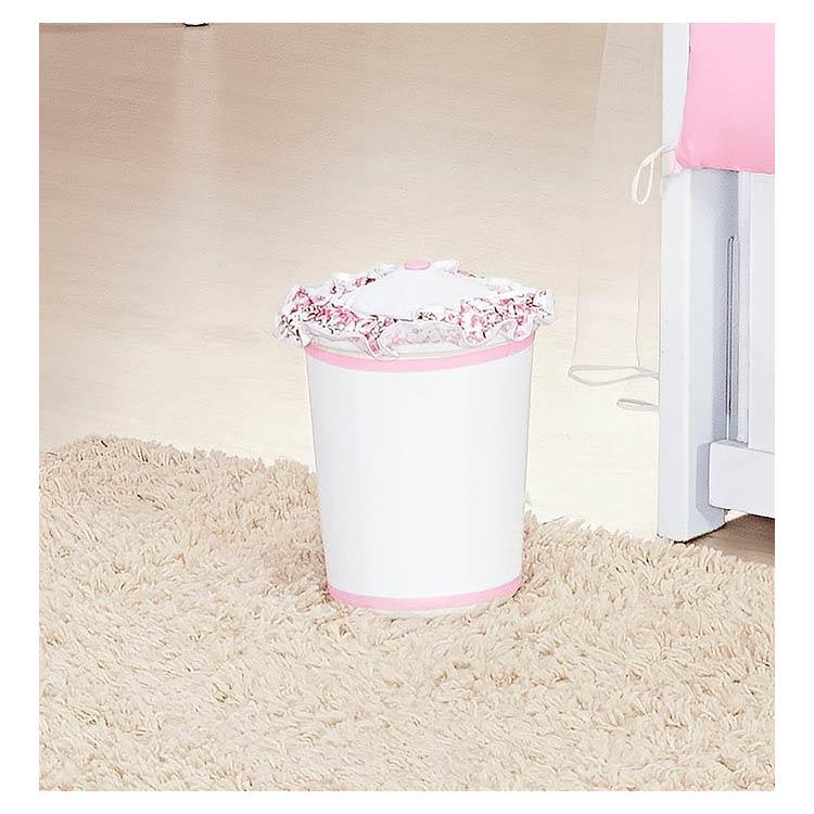 Lixeira Enfeitada para Quarto de Bebê Coleção Coração - Branco/Rosa