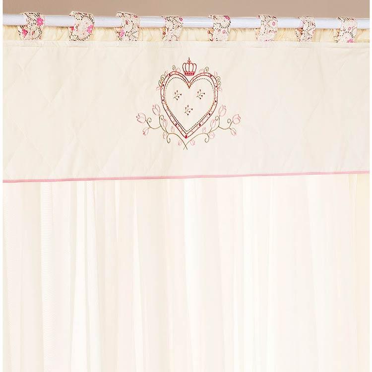 Cortina para Quarto de Bebê 2 Metros x 1,60m alt. Coleção Coração - Palha/Rosa