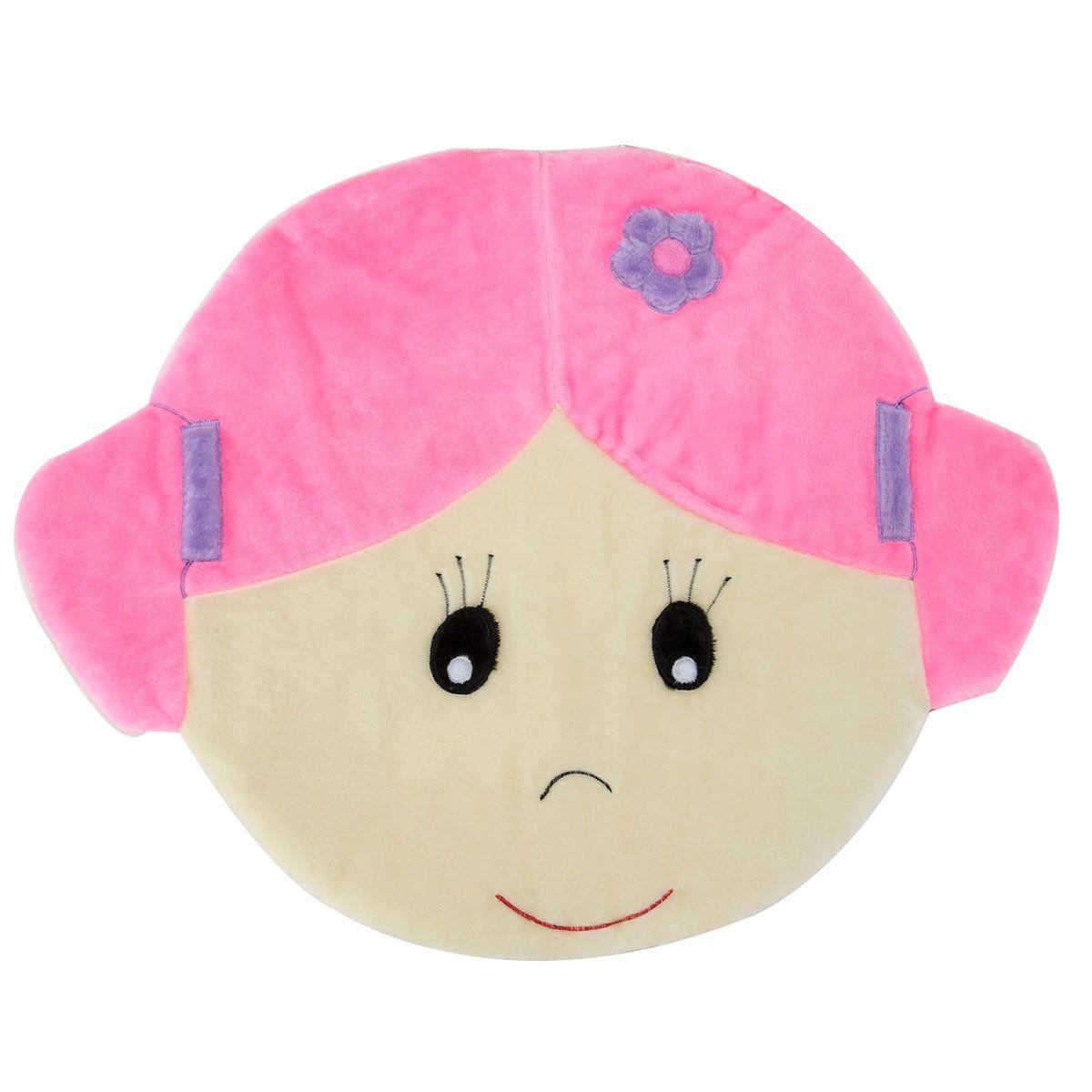 Tapete para Quarto de Bebê Carinha de Menina 1,15m x 90cm Rosa - Antialérgico