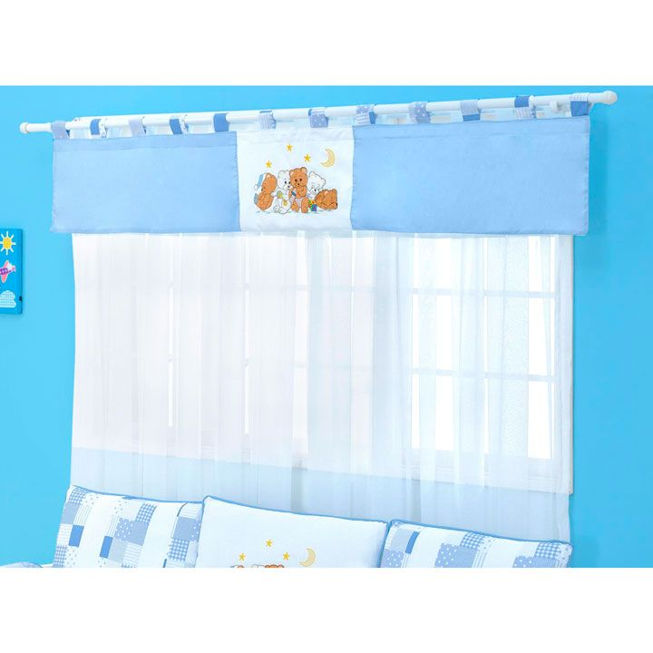 Cortina para Quarto de Bebê 2 Metros Coleção Família Urso - Azul