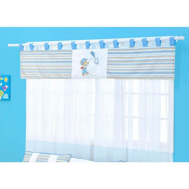 Cortina para Quarto de Bebê 2 Metros Coleção Menino Pipa - Azul